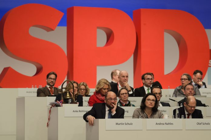 The SPD convention in Berlin, Dec. 7, 2017. (Photo by AP)